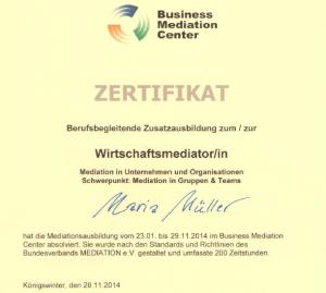 Zertifikat Mediationsausbildung