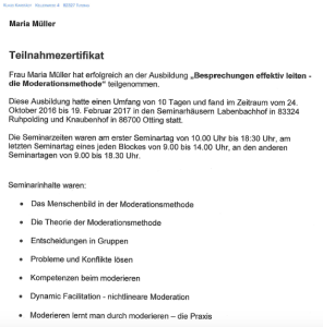Screenshot Teilnahmezertifikat Moderationsausbildung